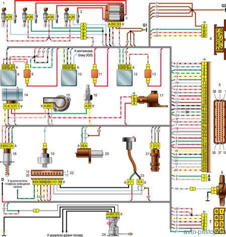 Схема соединений системы управления двигателем ВАЗ-2111(контроллер М1.5.4)