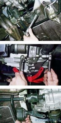 Снятие задней опоры двигателей ВАЗ 2113, 2114, 2115