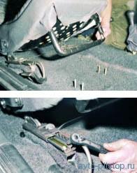 Снятие переднего сиденья и салазок ВАЗ 2108-2115