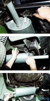 Снятие основного глушителя ВАЗ-2108-2115