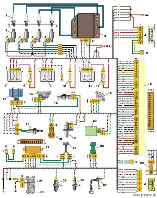 Схема управления двигателями 2111 и 2112 (конт. М1.5.4N, «Январь-5.1»)