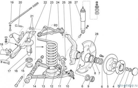 схема передней ступицы шевроле
