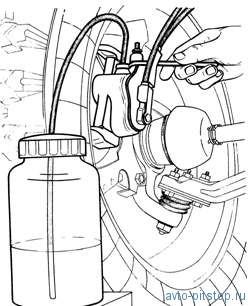 Воздух, попавший в гидропривод тормозов при замене трубопроводов, шлангов, уплотнительных колец или при...