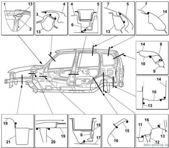 Герметизация кузова автомобиля Шевроле-Нива