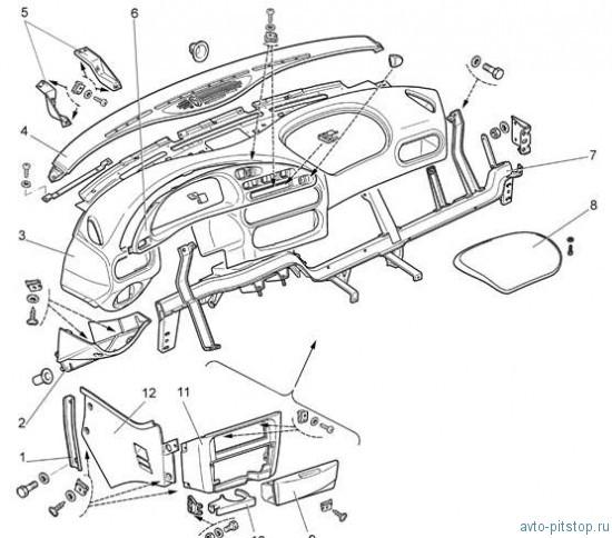 Панель приборов, сиденья.  Кузов.  Chevrolet Niva.  Снятие и установка панели приборов.