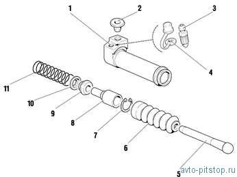 Снятие и установка главного и рабочего цилиндров привода выключения сцепления Шевроле-Нива