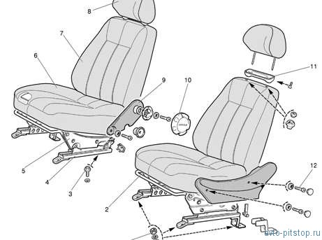 Снятие и установка передних сидений Шевроле-Нива