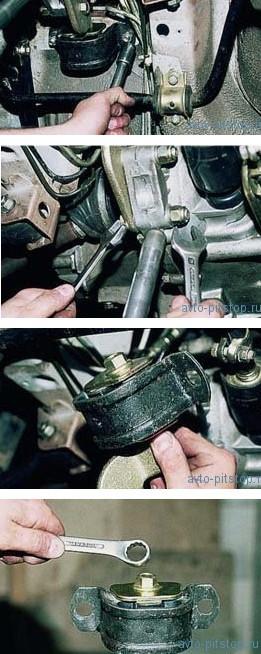 Снятие задней опоры двигателя ВАЗ-2111, 2110