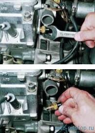 Снятие датчика температуры охлаждающей жидкости двигателей ВАЗ-2111, 2110