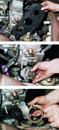 Снятие насоса охлаждающей жидкости на двигателях ВАЗ-2111, 2110
