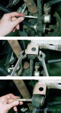 Снятие рычага, растяжки и кронштейна ВАЗ 2108-2115