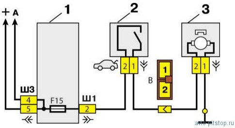 Схема включения замка багажника.