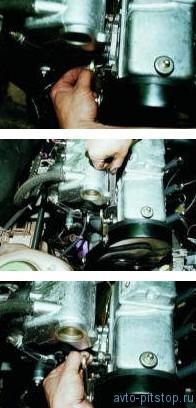 Снятие датчика контрольной лампы давления масла на двигателе ВАЗ-2111, 2110