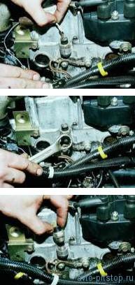 Снятие датчика контрольной лампы давления масла в двигателе ВАЗ-2112