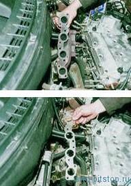 Снятие выпускного коллектора двигателя ВАЗ-2112