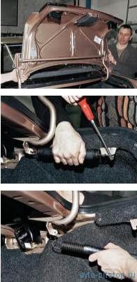 Снятие крышки и петель багажника ВАЗ 2110-2112
