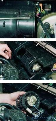 Снятие электродвигателя отопителя ВАЗ 2110-2112