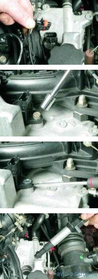 Снятие катушек зажигания и свечей двигателя ВАЗ-21124