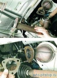 Снятие промежуточной трубы двигателей ВАЗ-21114 и ВАЗ-21124
